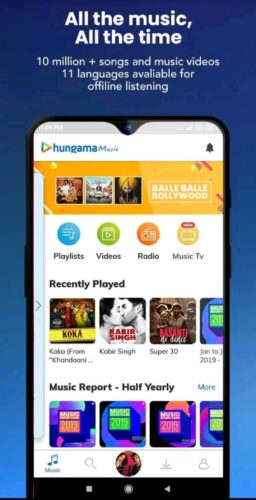 Best music player apps for Android 2021; Hungama Music