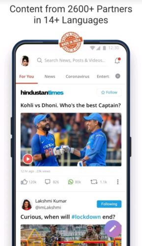 Best news and magazine apps for Android 2021; dailyhunt