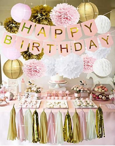Birthday Party Decoration Ideas - ornaments and pompoms