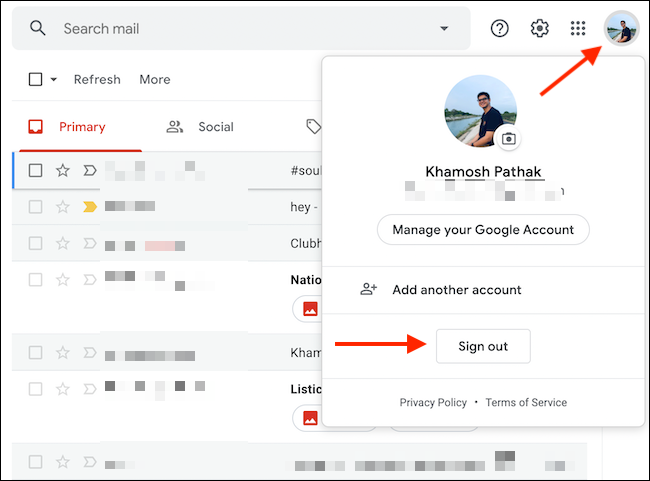 Sign out of one gmail account
