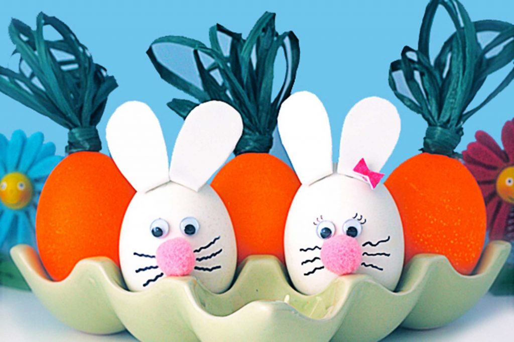 DIY Bunny Art, Painted Eggs, and Twine Carrots; Best Easter Craft Ideas For Kids.