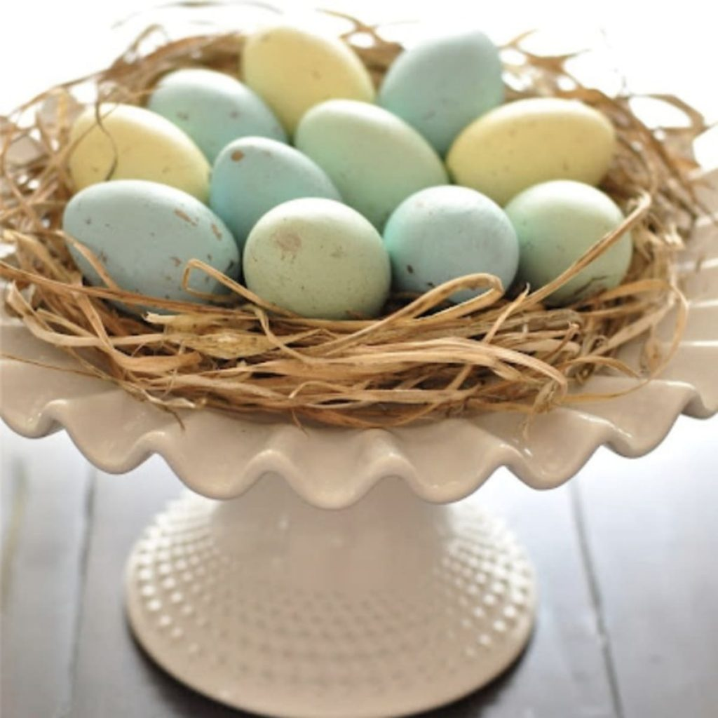 Cake Stand Nest; Best Easter Craft Ideas For Kids