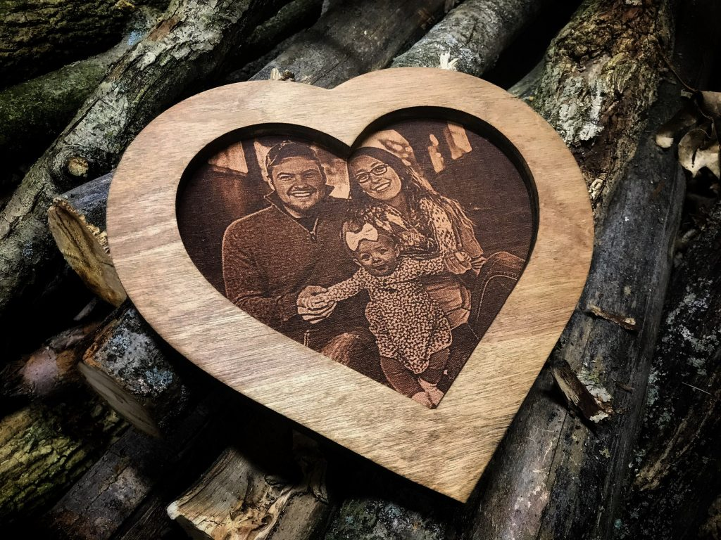 Heart-Shaped Personalised Wooden Photo Frame; Best Romantic Birthday Gifts For Girlfriends