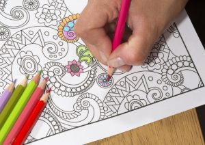 Color in a coloring book; what to do when you are bored at home