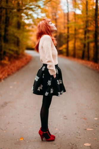 Patterned Sweater and Printed Skirt