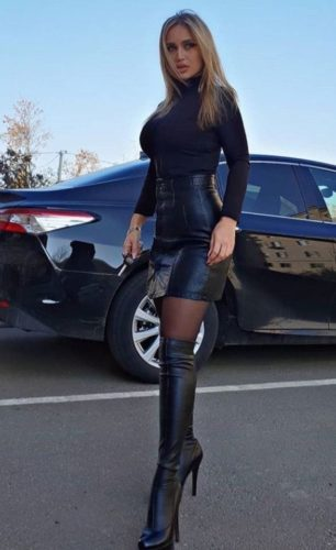 Stockings Outfit Ideas; Pencil Skirt and Thigh High Boots