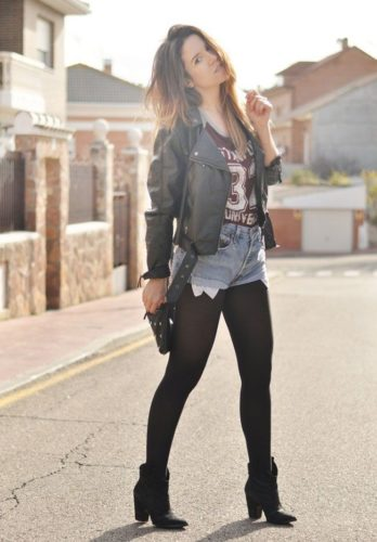 Stockings Outfit Ideas; Tee, Denim Shorts, and High Heel Boots