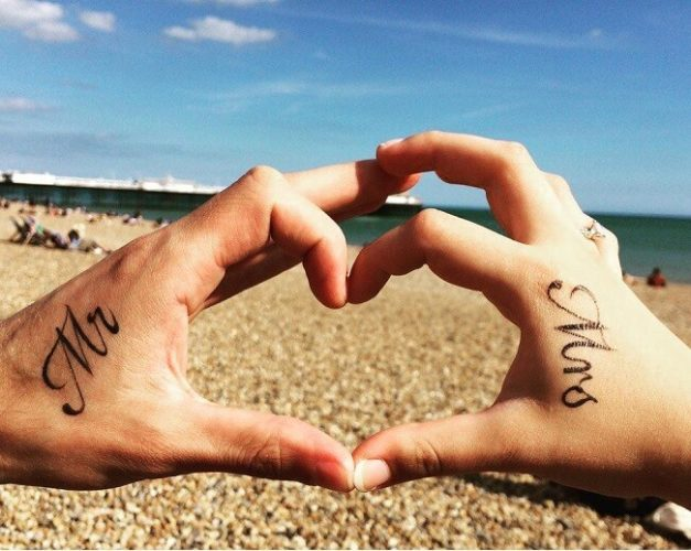 Best Tattoo Ideas For Couples - Mr and Mrs couples tattoo