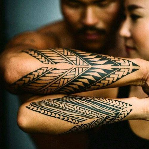 Best Tattoo Ideas For Couples - Tribal couples tattoo