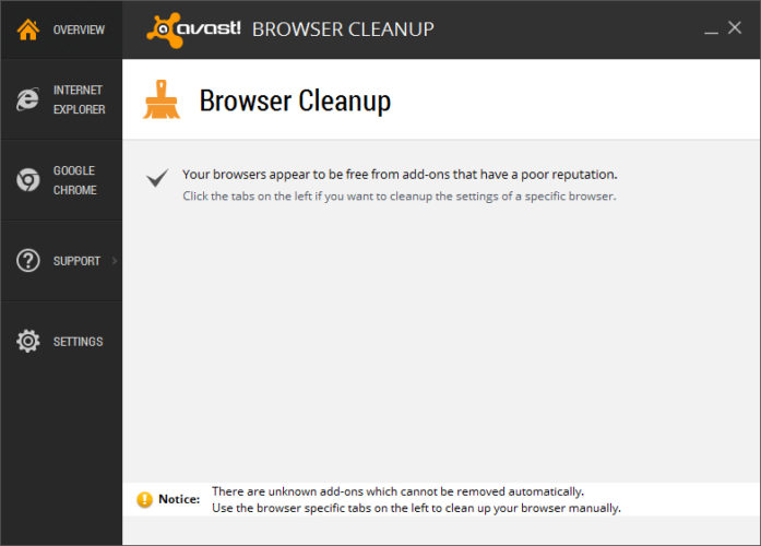 Avast Cleanup Review; Browser Cleanup
