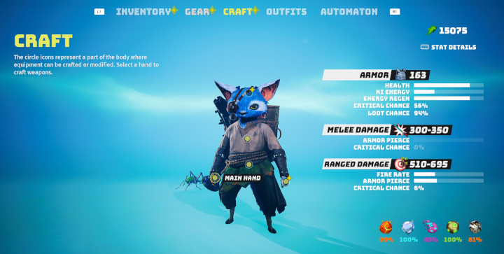 Biomutant: Tips and Tricks: Craft and upgrade weapons and gear