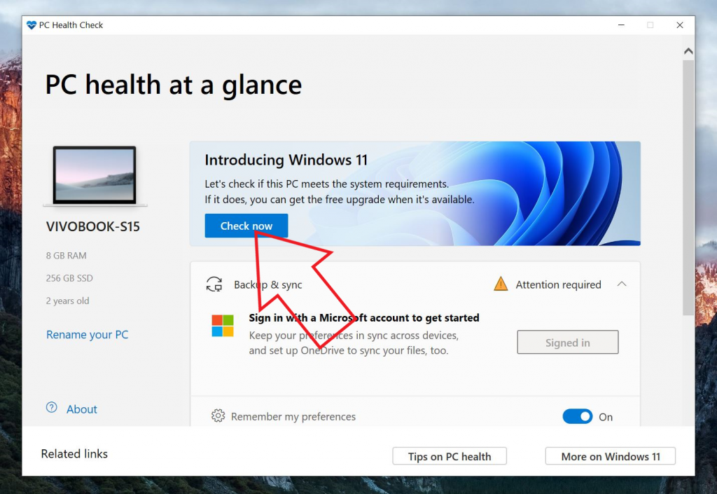 Windows 11 System Requirements - PC Health