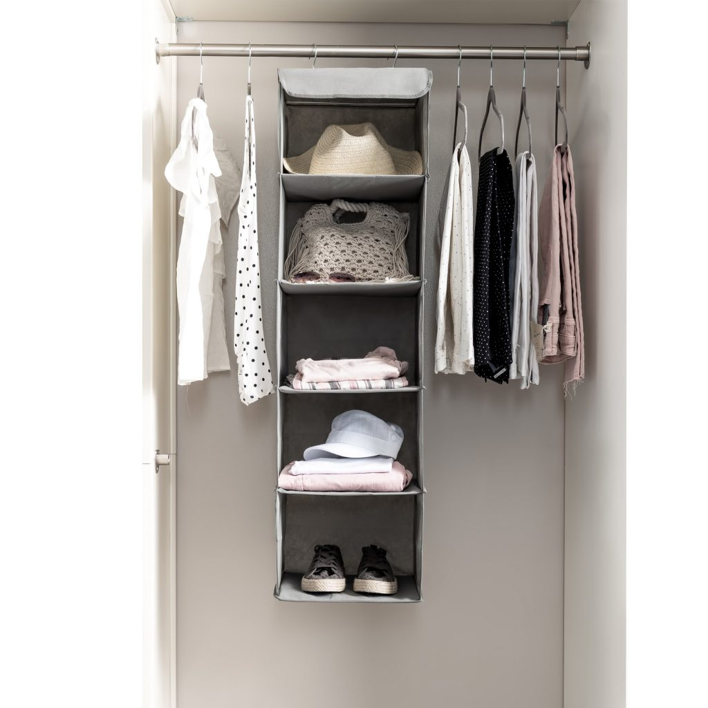 Products For Your Bedroom On Amazon; Five Shelf Hanging Closet Organizer