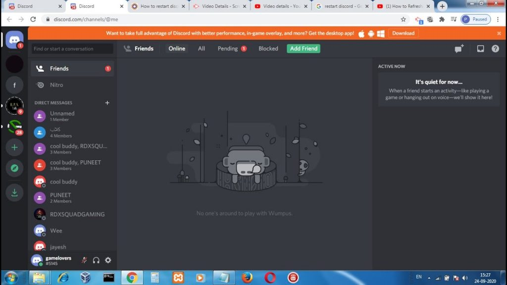 How To Restart Discord Using the Close (X) Button