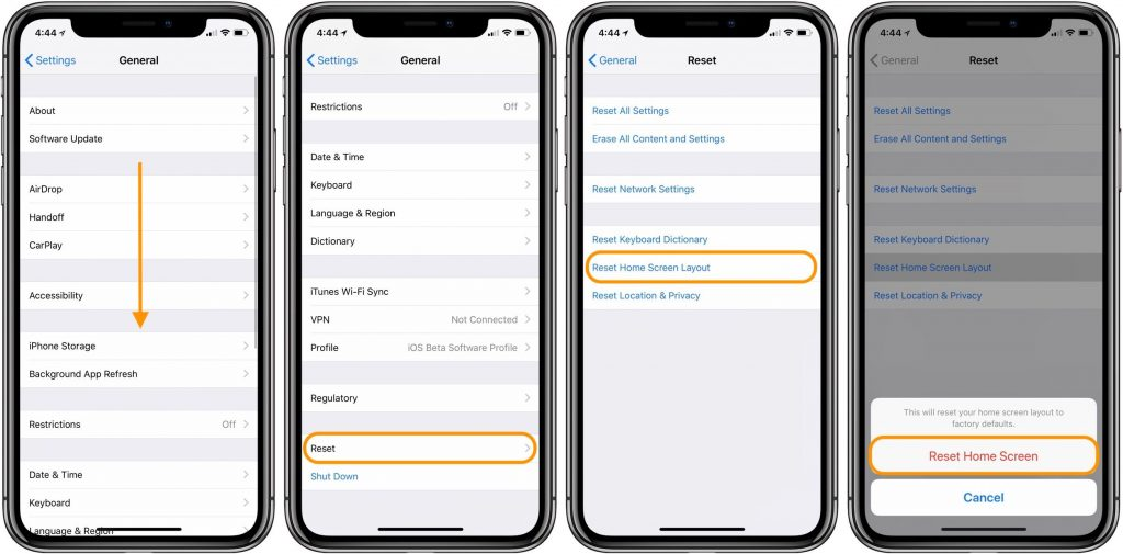 Reset iPhone Home Screen Layout
