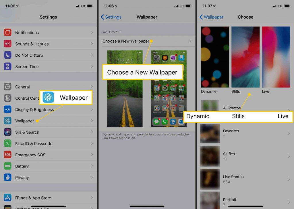 setting home screen wallpaper on iPhone