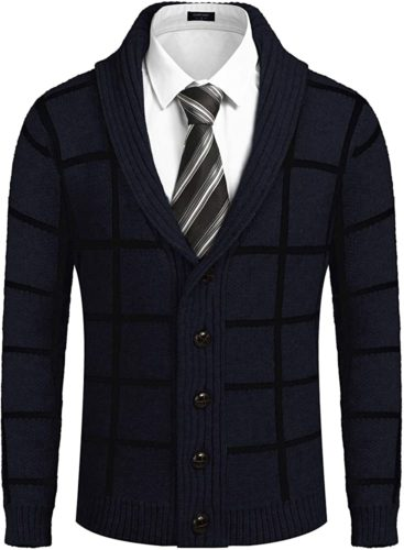 formally styling a collared cardigan for men