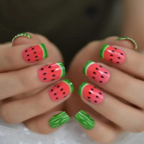 Watermelon Nail Designs; Full Watermelon Coverage For Short Nails