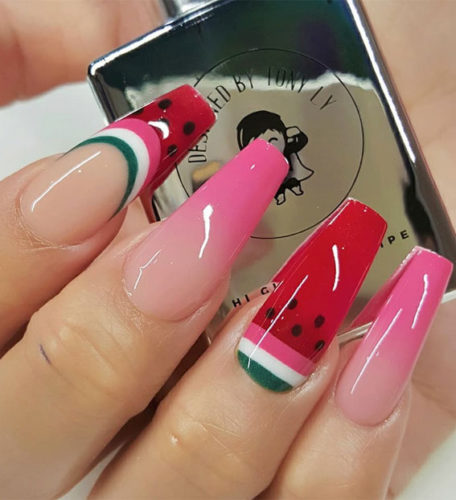Watermelon Nail Designs; Red And Pink Watermelon Design