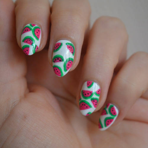 Watermelon Nail Designs; White Base With Pink Watermelons